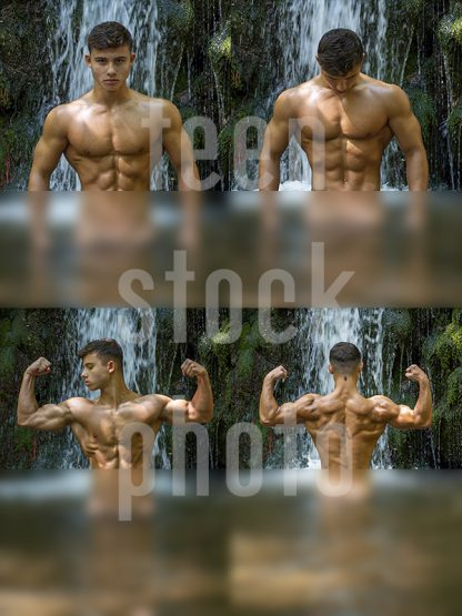 Boy with amazing physique shows a body in a lake