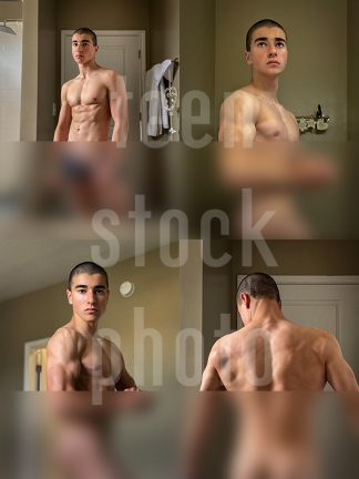 Cool boy with an amazing body shows muscles